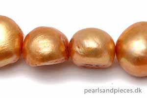 Ferskvands, rund, guldfarvet, ca. 7 x 7-8 mm, 1 streng