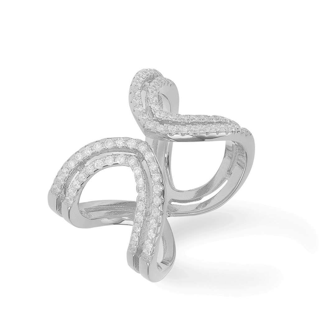 Double Ring Zirkonia Silver