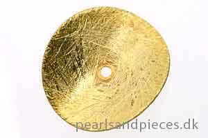 Buet mønt, børstet, ca. 18 mm, forgyldt 925s, 2 stk.