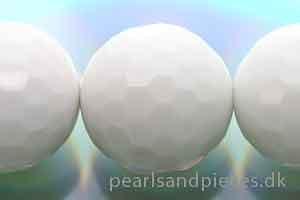 Agat, rund, facet, hvid, 14 mm, 1 streng