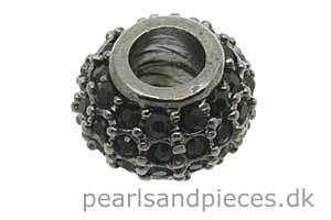 Perle, oxyderet (BP), 8x10 mm, tønde, m/sorte krystaller, 1 stk.