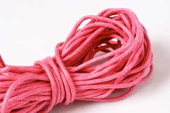 Bomuldssnøre, vokset, mørk pink, 2 mm, 10 meter