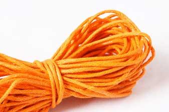 Bomuldssnøre, vokset, orange, 1,5 mm, 10 meter