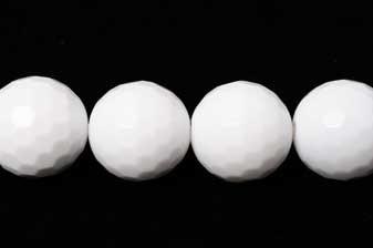 Agat, hvid, facet, 12 mm, 1 streng