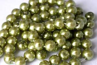 Glasperle, limegrøn, 6 mm, 1 streng, ca. 40 cm