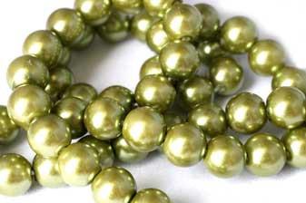 Glasperle, limegrøn, 8 mm, 1 streng, ca. 40 cm