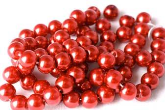 Glasperle, kirsebærrød, 6 mm, 1 streng, ca. 40 cm