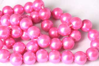 Glasperle, pink, 8 mm, 1 streng, ca. 40 mm