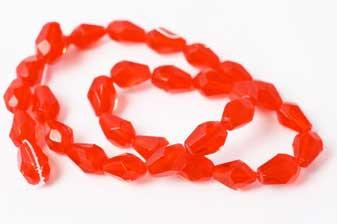 Glasperle,  facet, dråbe, rød,11x8 mm, 1 streng