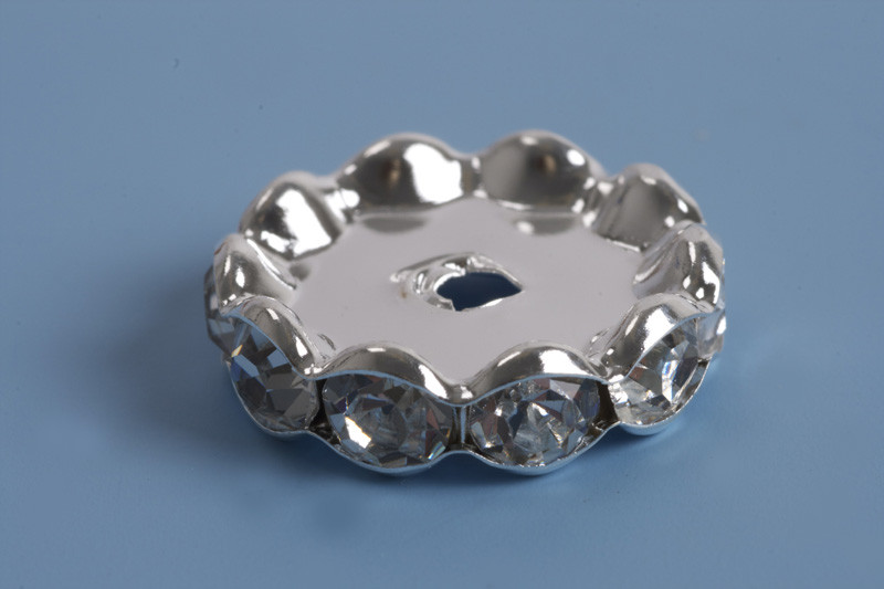 Rondel m/rhinsten, ca. 17x5 mm, FS, 2 stk.