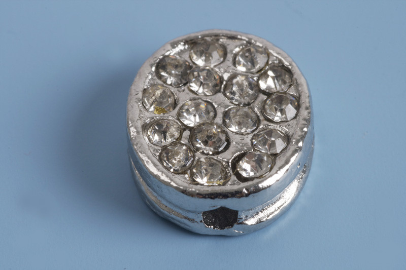 Flad perle m/rhinsten, ca. 12x11x4 mm, FS, 1 stk.