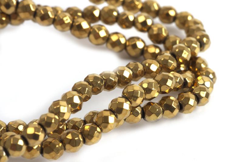 Hæmatit, rund, facet, guldfarvet, 4 mm, 1 streng