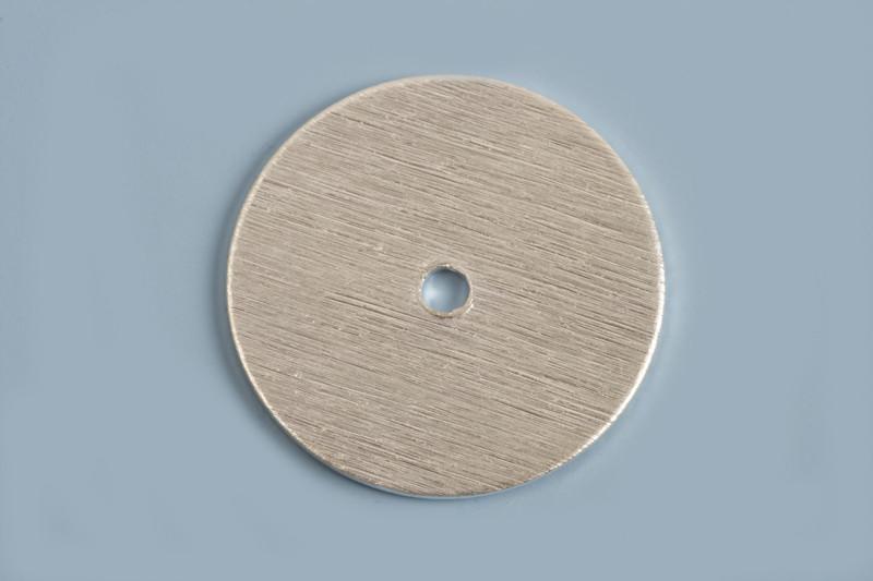 Mønt, børstet, midterboret, 18 mm, FS, 2 stk.