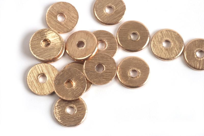 Mønt, børstet, midterboret, 6 mm, RG, 6 stk.