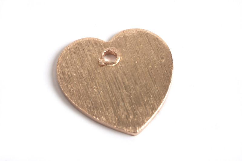Hjerte, børstet, ca. 12x12 mm, RG, 2 stk.