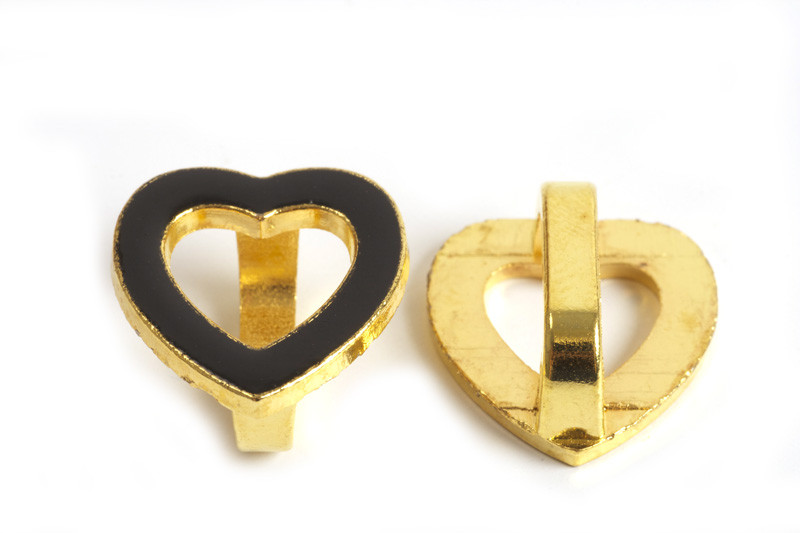 Slide, hjerte, sort, 17x16x7 mm, FG, 1 stk.