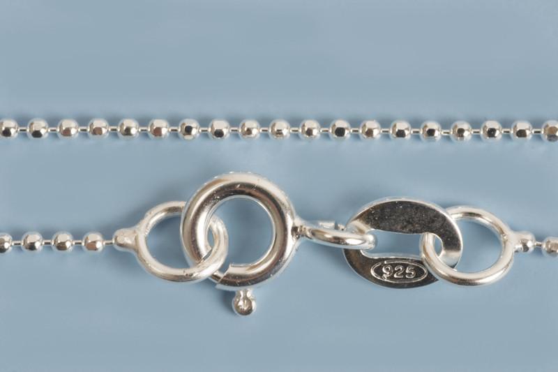 Halskæde, kuglekæde, 50 cm, 925s, 1 stk.