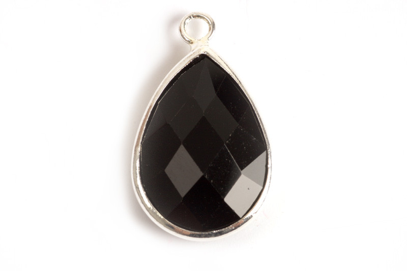 Vedhæng, dråbe m/krystal, 22x13x5 mm, FS, sort 1 stk.