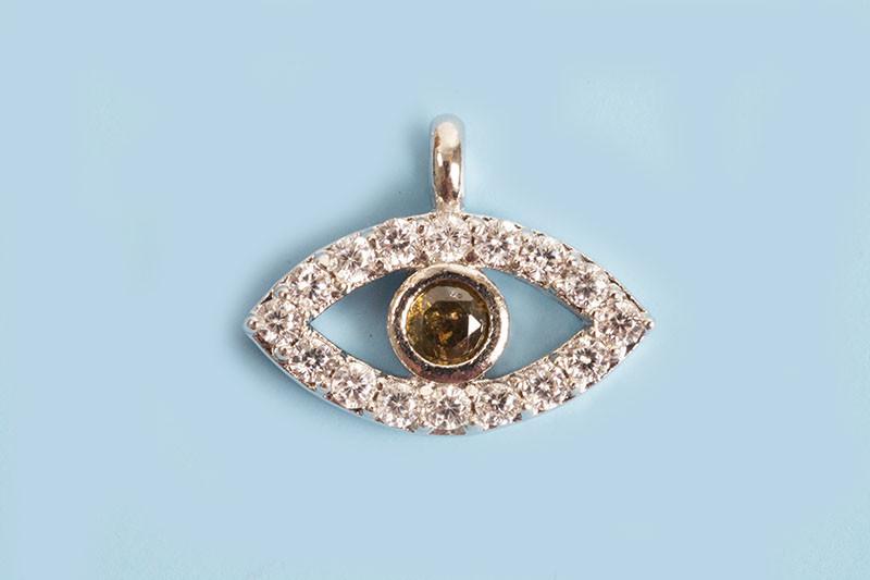Evil eye m/rhinsten, 8x11x2 mm, FS, 1 stk.