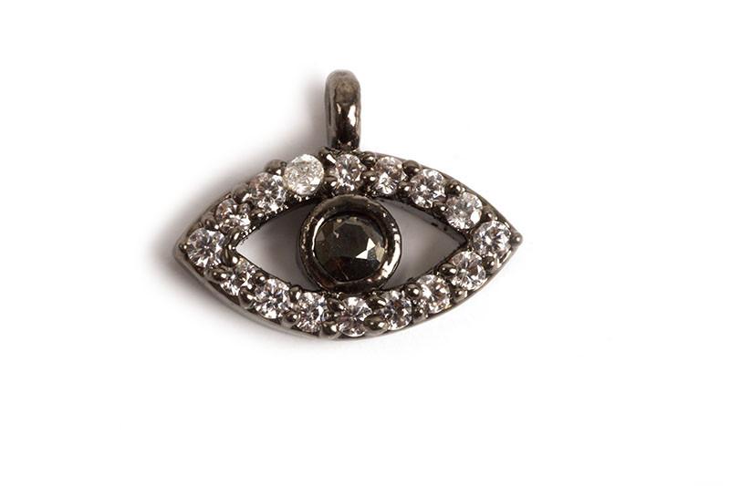 Evil eye m/rhinsten, 8x11x2 mm, PB, 1 stk.
