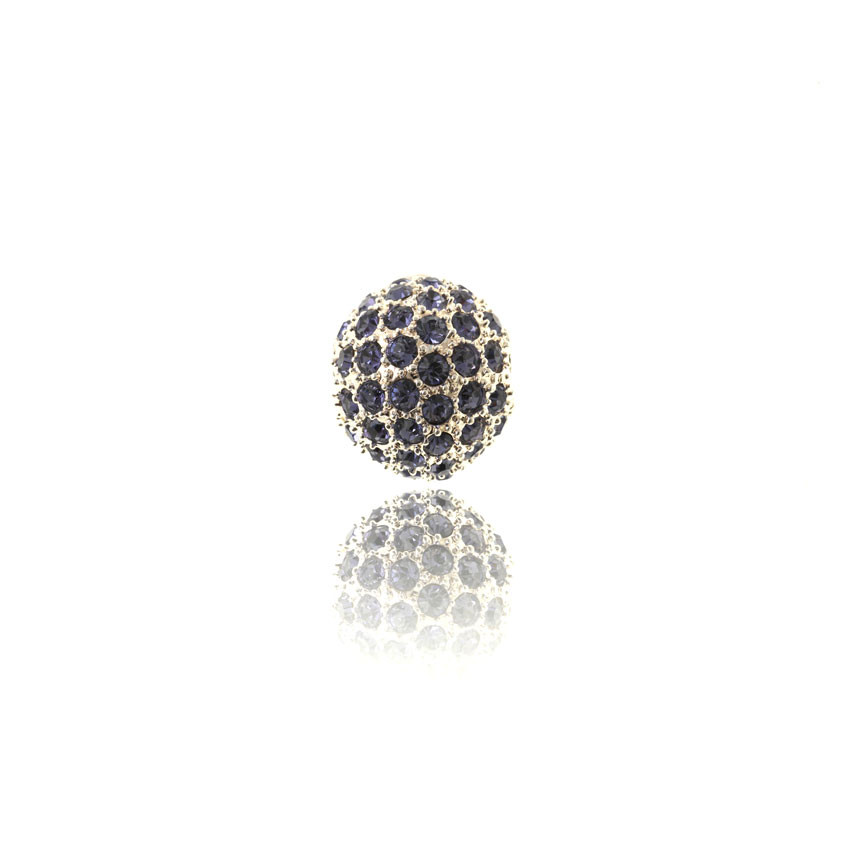Perle, forsølvet, 14 mm, kugle, m/lilla krystaller, 1 stk.