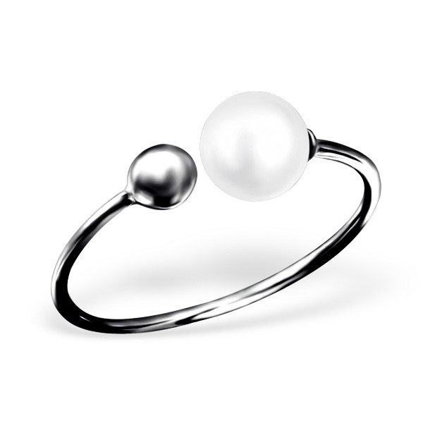 Double Pearl Fingerring Black