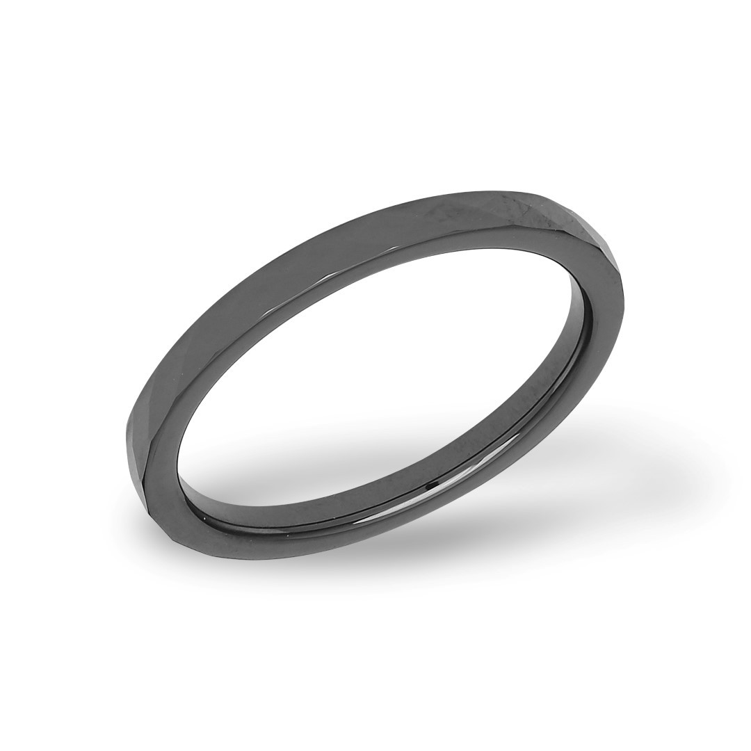 Faceted Ceramic Ring Black