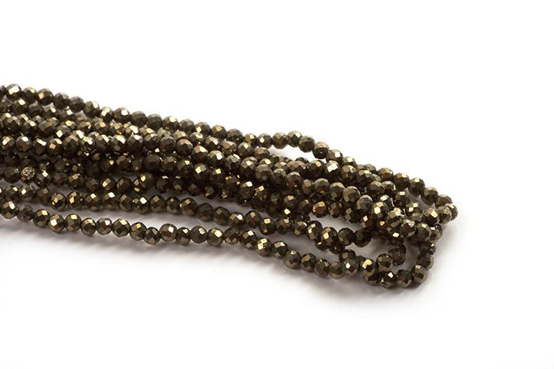 Pyrite, facet, 2 mm, 1 streng
