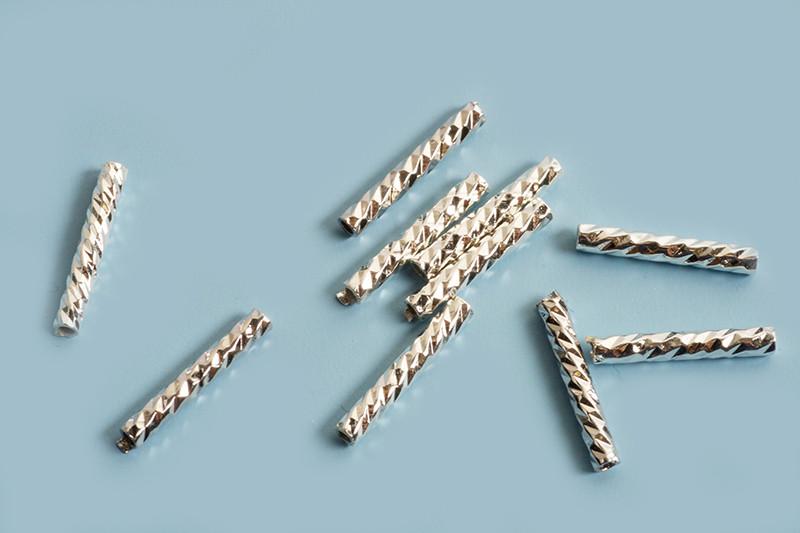Rør, facetteret, ca. 10x1,5 mm, FS, 10 stk.
