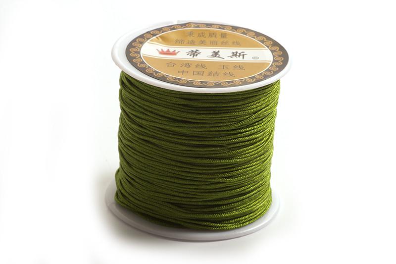 Polyestersnøre, 0,8 mm, olivengrøn, ca. 35 meter