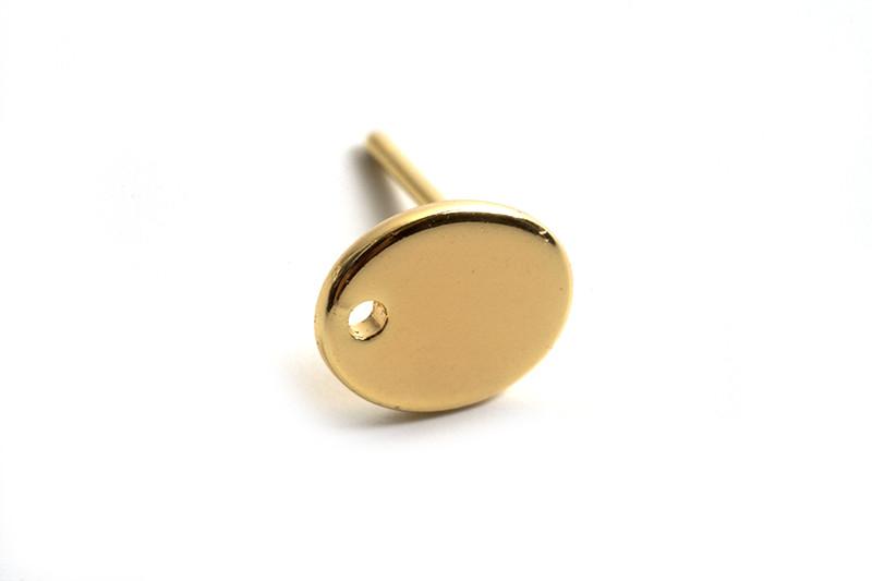 Ørestikker, oval plade med hul, 8 mm, forgyldt med 18K guld, 1 par