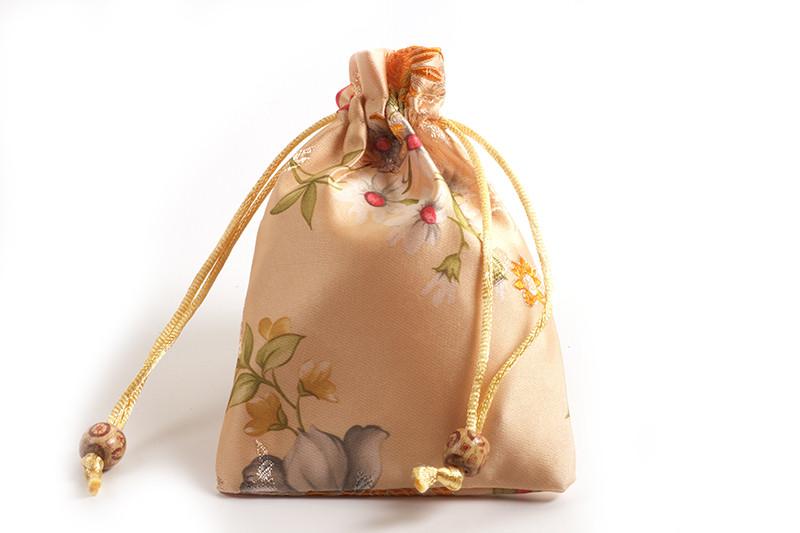 Smykkepose, silke, ca. 14x10 cm, ferskenfarvet, 1 stk.
