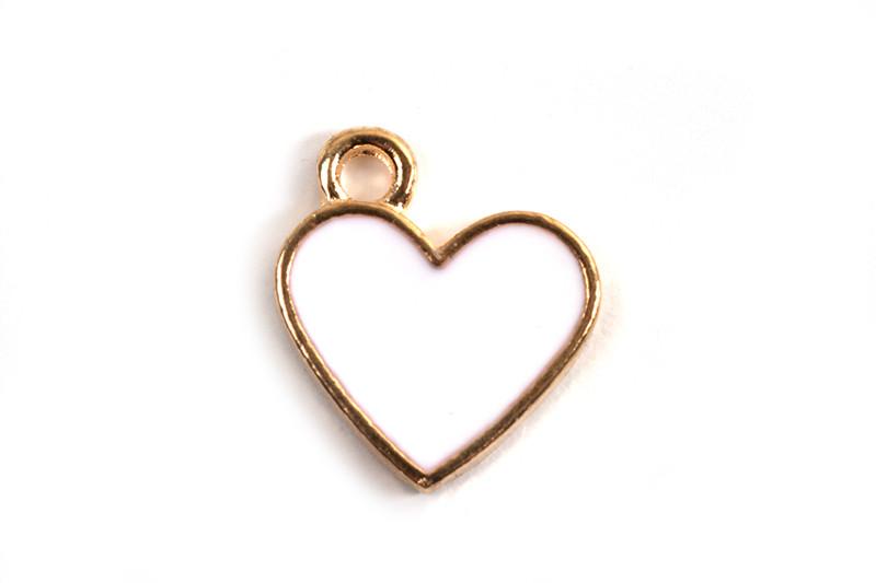 Hjerte, emalje, 13x11.5x1.6 mm, lys forgyldning, hvid, 2 stk.