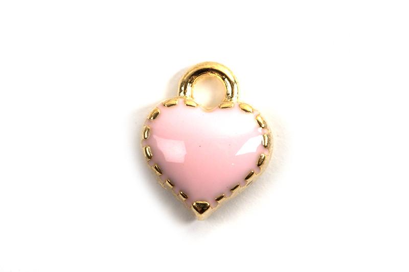 Hjerte, emalje, 8x7,5x2,5 mm, FG, rosa, 2 stk.