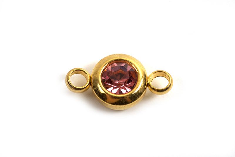 Vedhæng m/2 øjne, link, 12x6.5x4 mm, FG rustfrit stål, lyserød, 2 stk.