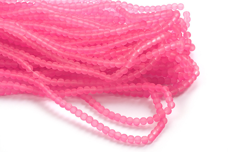 Glasperle, frosted, 4 mm, pink, 1 streng