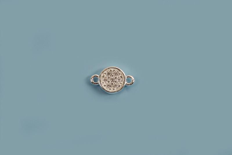 Vedhæng, link, mønt med klare rhinsten, ca. 8x4,5 mm, 925s, 1 stk.