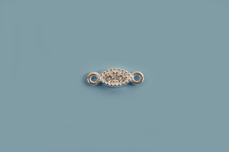 Vedhæng, link, oval med klare rhinsten, ca. 6x3,2 mm, 925s, 1 stk.
