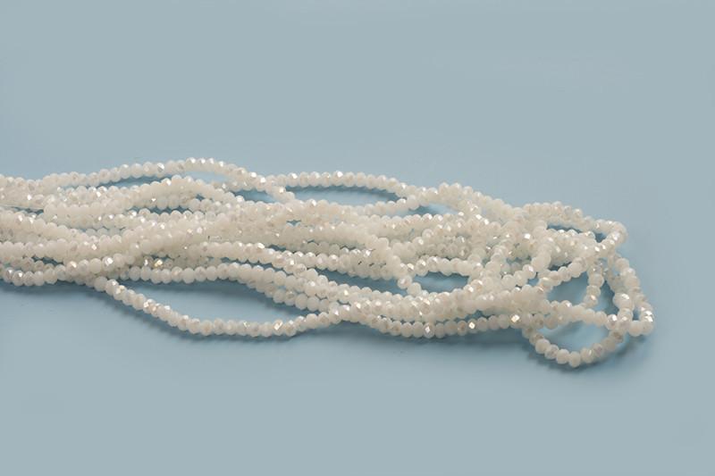 Glasperle, rondel, facet, hvid, 3x2 mm, 1 streng