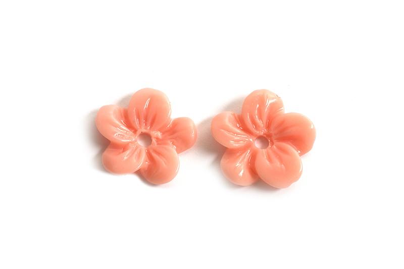 Blomst, resin/acryl, ca. 10x2 mm, coralfarvede, 2 stk.