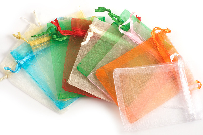 Smykkepose, organza, mix colour, ca. 100x80 mm, 10 stk.