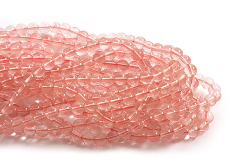 Cherry Quartz, lys, ca. 6 mm, 1 streng