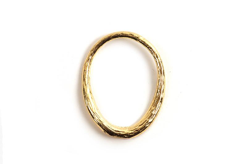 Oval ring, 21x16x1,5 mm, forgyldt med 18K guld, 1 stk.