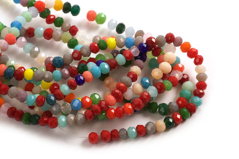 Glasperle, rondel, facet, multicolour, 4x3 mm, 1 streng