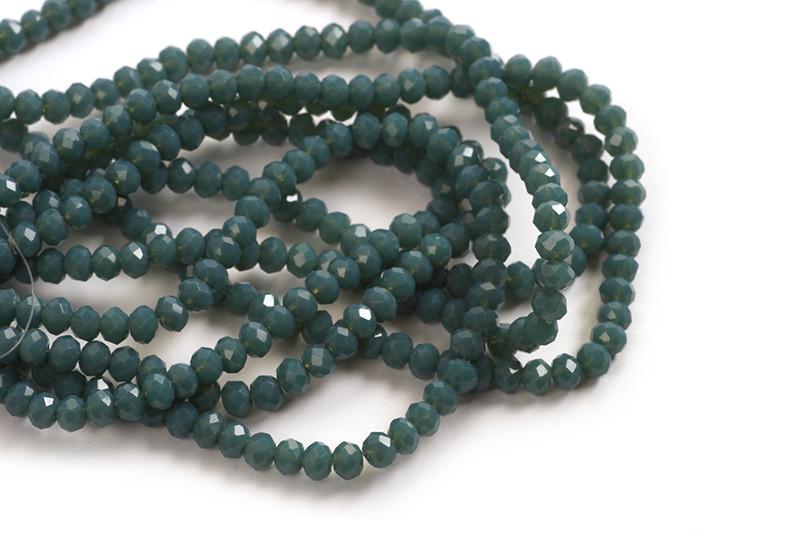 Glasperle, rondel, facet, petroleumsblå, 3x2 mm, 1 streng