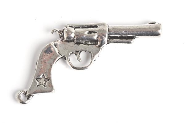 Pistol, 41x20x4,5 mm, antiksølv, 1 stk.