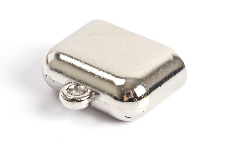 Endestykke, acryl, 28x23x11 mm, sølvfarvet, 2 stk.