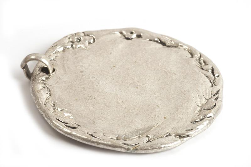 MEGA mønt, 60x65 mm, antiksølv, 1 stk.