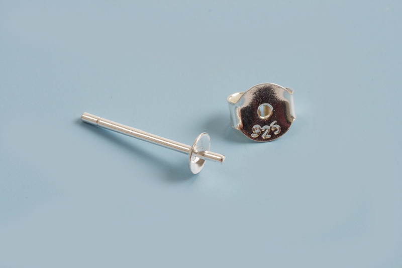 Ørestikker m/perleskål til anboret perle, 925s, 1 par