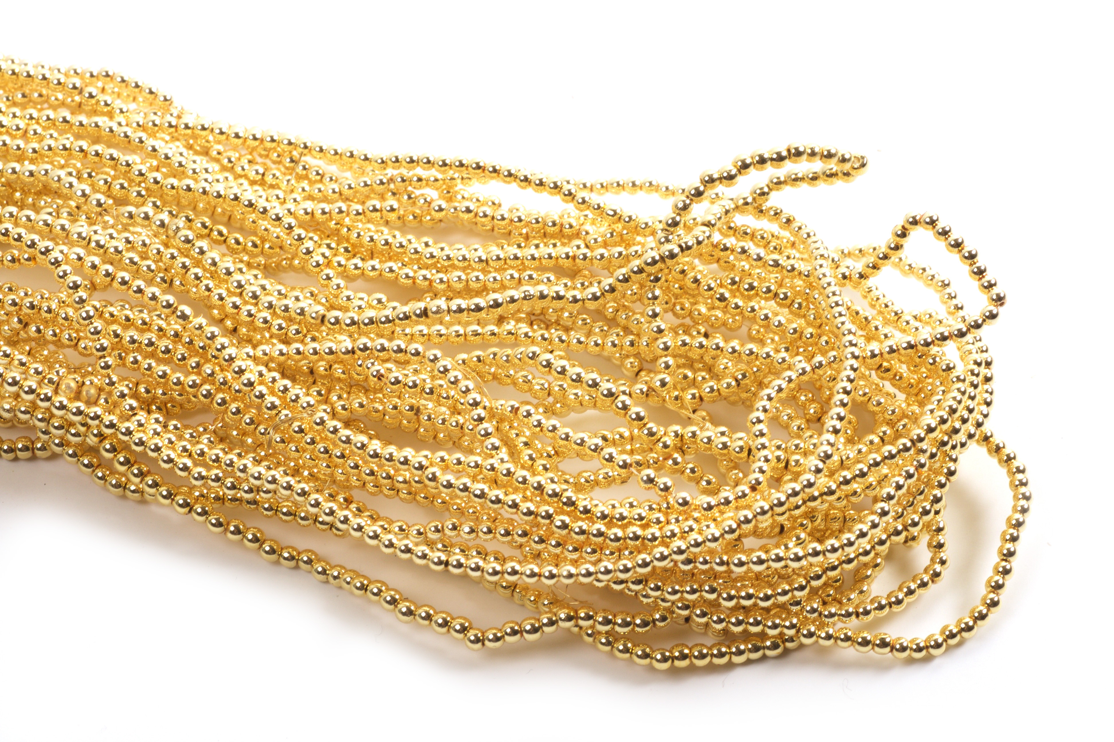 Hæmatit, rund, guldfarvet, 2 mm, 1 streng